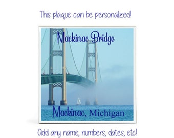 MICHIGAN Keepsake Plaque - Wedding Engagement - Michigan Keepsake Tile - MACKINAC ISLAND Memento - Personalization Available - With Stand
