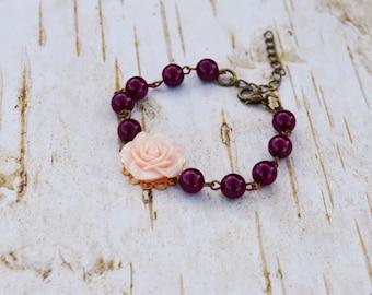 SALE - Rose Pearls Bracelet, Vintage Aubergine Pearls Adjustable Bracelet, Flower Pearls Bracelet, Wedding Bridal Bridesmaid Bracelet