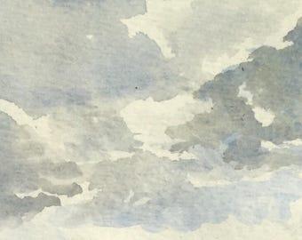 Cloudy Lancaster County Watercolor Landscape