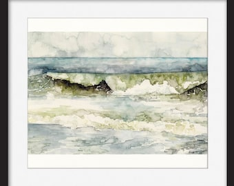 "Original Ocean Painting - Original Watercolor Painting, ""High Tide"", Beach Decor, Ocean Art, Ocean Decor, Ocean Waves, Watercolor Sea"
