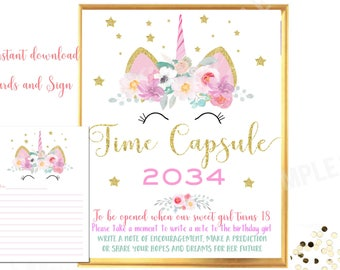 Unicorn time capsule sign and cards Unicorn time capsule sign printable Instant download Sleepy Unicorn birthday party decorations game