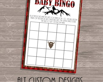 Flannel Baby Shower Bingo Flannel Baby Bingo - Flannel Baby Shower - Flannel Baby - Plaid Baby Bingo - Plaid Baby shower games
