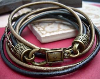 Womens Leather Bracelet, Bronze Bracelet, Womens Bracelet, Wrap Bracelet, Five Strand, Double Wrap, Bronze, Black, Womens Gift