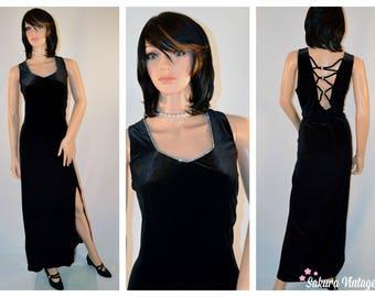 Black Velvet Formal Gown XL Full Length Rhinestones Cage Back Bodycon Vintage (Bin 38 - #0404)