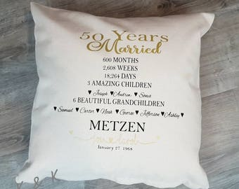 50 Years Married, Cotton Canvas  Pillow Cover, 50th Wedding Anniversary, Golden Anniversary Pillow, Wedding Gift, Personalized Custom Pillow