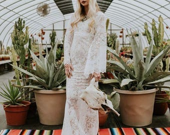 Wedding dress, lace wedding dress, boho wedding dress, boho lace dress, bohemian wedding dress, bell sleeve dress, bell sleeve wedding dress