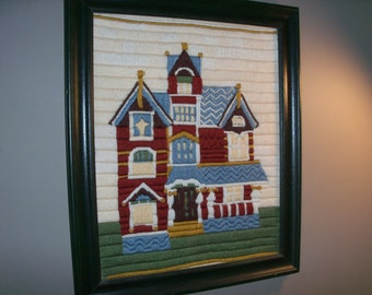 Large Vintage Handmade Embroidery Cross Stitch Victorian House Framed