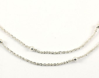 Vintage Bead Beade Sparkle Style Chain Necklace 925 Sterling Silver NC 826