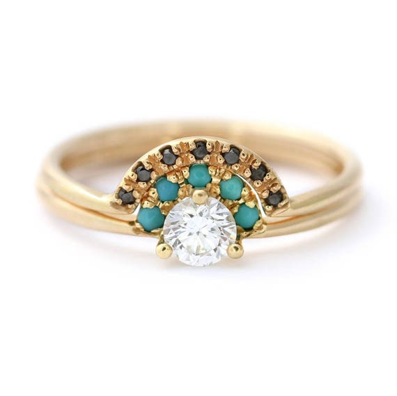 Diamond Turquoise Ring Wedding Ring Set Turquoise