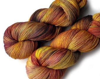 Hand Dyed Yarn Lace Yarn Merino and Silk - By the Fire, 870 yards