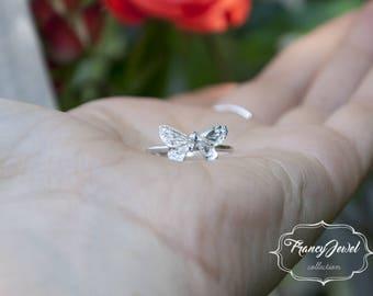 Anello farfalla, anello Argentium Silver, anello fatto a mano, artigianale, nichel free, made in Italy, fatto in Italia, ecofriendly