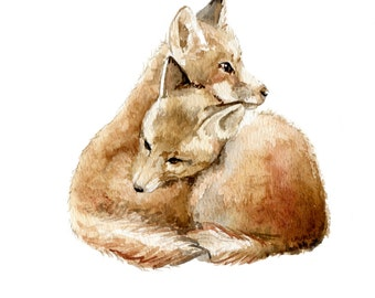 Fox Cubs Cuddling Limited Edition Print 8.5x11 Watercolor