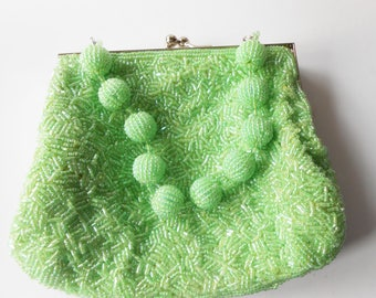 Beaded Evening Bag, Green Evening Bag, Green Bead Bag, Green Bead Purse, Green Crystals EB-0039