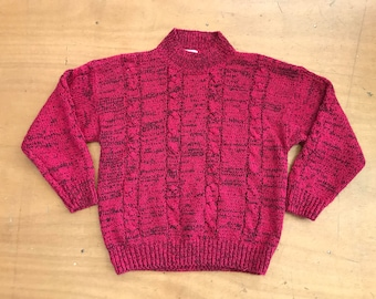 Vintage STERLING HARRIS Magenta Fuchsia Pink and Black Heather Cable Knit Mock Neck Sweater