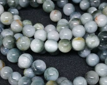 10 pearls 6mm natural stone or PIETERSITE ref 9522206/8888534 grey eagle eye