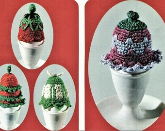 Crochet Pattern Egg Cosies Instant Download pdf oddments of cotton or 3 play yarn or wool egg cover egg warmer egg cosy egg cosies crochet