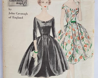 "50's Rare Sewing Pattern Vogue Couturier Design 176 Dress, Vintage Vogue 176, Size 14 Bust 34"""