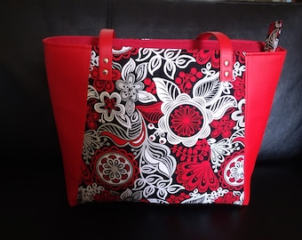 Red Flowered Everyday Tote