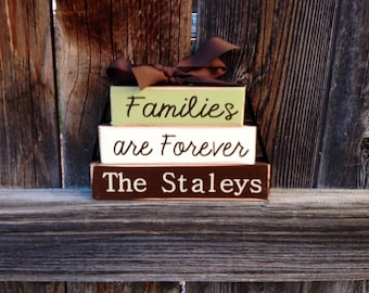 Families are Forever Personalized Mini wood stacker blocks--wedding anniversary wood blocks