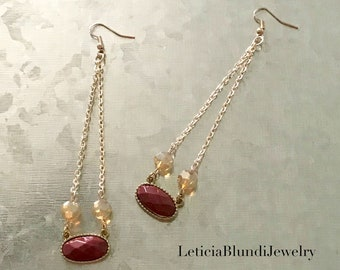 Coral Stone with Chain Earring