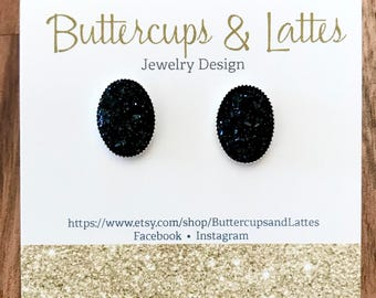 Black Druzy Oval Stud Earrings