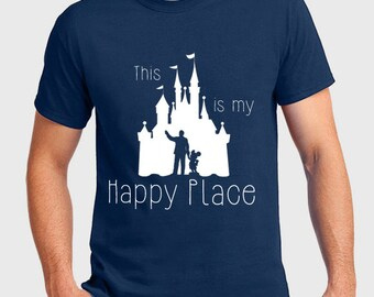 Disney Shirts This is my Happy Place Disney Shirt Disneyland Castle Walt and Mickey Mouse Tee Disneyland Shirt Disney World Shirt