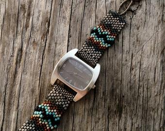Jewelry - Father Time Silver Gray  - Free Form Peyote Stitch Beaded Watch Bracelet - Bead Weaving