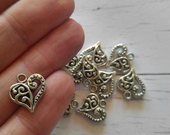 Silver Filigree Heart Charms// Love Charms// Silver Heart Pendant// 10 pieces