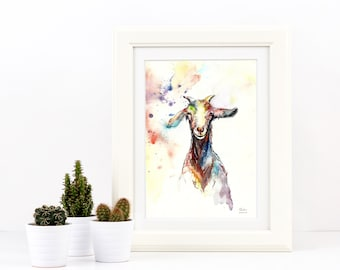 William The Goat Limited Edition A3 Painting Watercolour Colour Print