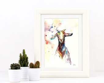 A3 Goat Painting Watercolour Farm Animal Colourful Art Print - Limited Edition