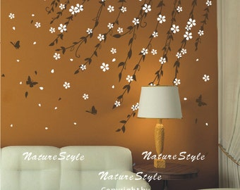 Branch flowers with butterflies cherry blossom wall decal branch flowers with butterflies vinyl wall decalwhite flower wall decal tree nursery wall decal baby wall decal children wall decal mightylinksfo