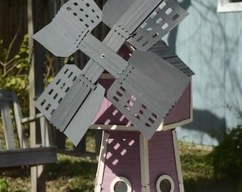POPSICLE STICK WINDMILL; Folk Art Piece Handmade from Popsicle Sticks.