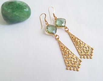 Beauty of Nature - Green amethyst earrings