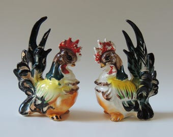 Vintage 50u0027s Roosters, Colorful Roosters, Rooster Figurines, Kitchen Decor,  Home Decor,