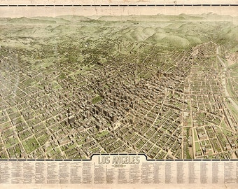 Los Angeles, 1909.  Vintage restoration hardware home Deco Style old wall reproduction map print.