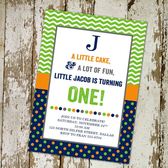 1st birthday party invitation with custom  digital, printable file (item 208 | Katiedid designs