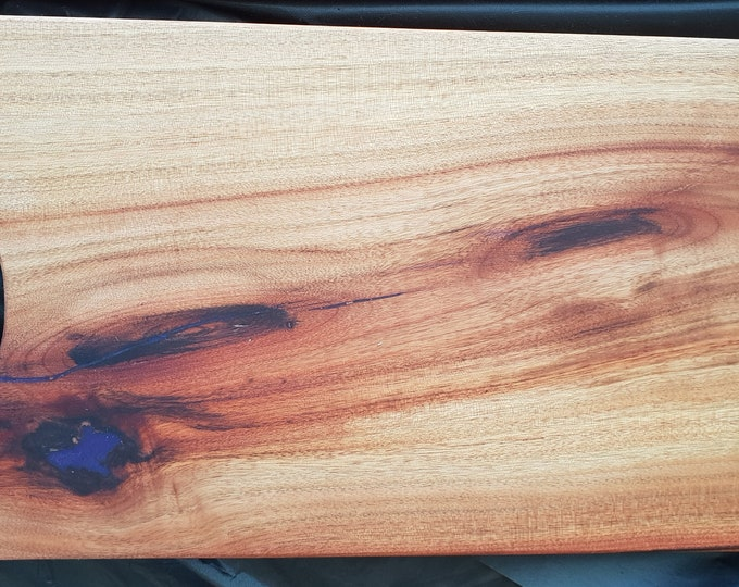 Camphour serving board with purple resin infill