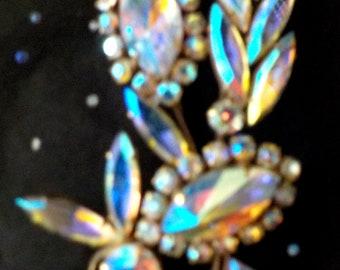 Aurora Borealis Vintage Brooch Jewellery Floral Art Nouveau Prongs Set Rhinestones