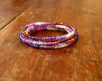 Pink and Purple Wrap Bracelet Gemstone Layer Bracelet Sparkly Faceted Crystal Bracelet Yoga Jewelry Spiritual Chakra Jewelry Petite Ombre