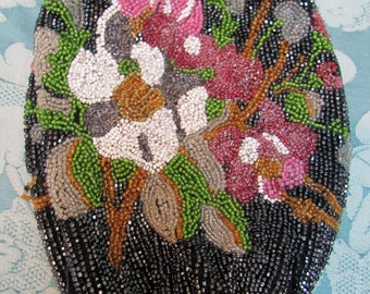 Vintage EDWARDIAN ERA Glass Seed BEADED Reticule Purse *Romantic Flowers Ready-to-Finish!