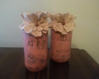 Set of 2 Distressed Painted Quart Sized Mason Jars- Pink tones