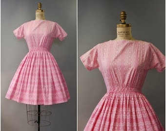SPRING SALE 1950's Lanz Originals pink cotton dress • small