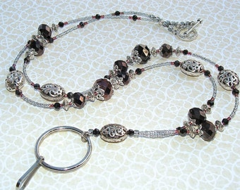 Beaded Lanyard Breakaway Lanyard  Dark Chocolate Filigree Badge Holder Magnetic Break Away teacher lariat brown