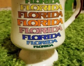 Vintage 70s 80s Rainbow Florida Souvenir Mug