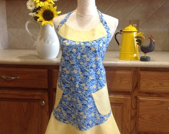 Apron / Handmade Apron /  blue and yellow floral apron, Full apron, Full front apron / Cute apron / Flirty apron