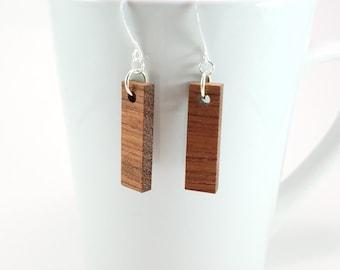 Narrow Rectangle Bubinga Wood Dangle Wooden Earrings