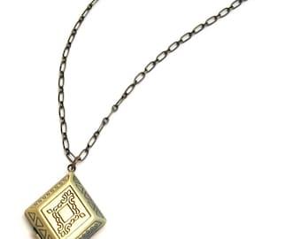 diamond locket necklace, brass locket necklace, embossed locket, vintage look locket necklace, vintage look locket necklace, locket necklace