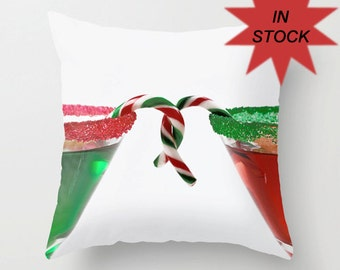 """Christmas Pillow Covers, Holiday Cushion Case, Festive Office Lounge Decor, Cocktail Gift for Couple, Red Green White Candy Cane, 16x16"""""""