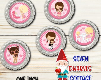 Dolly and Me one inch bottle cap circles - Girly Doll One Inch Bottlecap Circles - Birthday Doll Bottlecap Circle