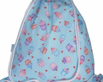 Drawstring Waterproof Backpack, Swim Bag, Gym Bag - Cupcake